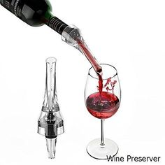 Wine Preserver - Wine Stopper Vacuum Wine Preserver Saver Pump Wine Aerator Pourer Wine Decanter Kit [1 x Pump+1 x Pourer+4 x Stoppers] to Keep Wine Flavorful with Gift Box #winepreserver #wineaerator