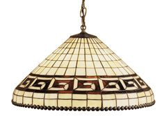 21 Inch W Greek Key Pendant - 21 Inch W Greek Key PendantLike one of the many geometric patterns employed by the Tiffany Studios, our classic greek key pattern isexecuted in a granite textured, Olive Brown on aParthenon Beige grid. Bordered in metal bead trim andfinished in Mahogany Bronze this stained glass pendantmakes a dramatic statement in your home. Theme: DECO Product Family: Greek Key Product Type: CEILING FIXTURE Product Application: PENDANT Color: BEIGE XAG Bulb Type: MED Bulb…
