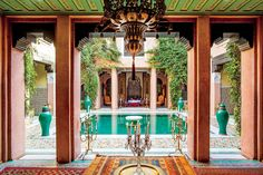 Of the four homes owned by the international hostess, her restored riad most perfectly reflects the thrilling exuberance of a woman known for doing nothing halfway.