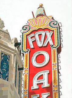 that reddish orange Fox Theater Oakland  12x16 Giclée Paper Print by SoonoakWoodStudio, $55.00
