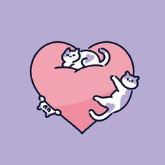 2016년작_고양이는 사랑입니다 - 영상/모션그래픽 · 일러스트레이션, 영상/모션그래픽, 일러스트레이션, 디지털 아트, 일러스트레이션 Cute Animal Drawings, Kawaii Drawings, Graphic Design Illustration, Illustration Art, Illustrations, Room Deco, Arte Do Kawaii, Cute Doodles, Cat Drawing