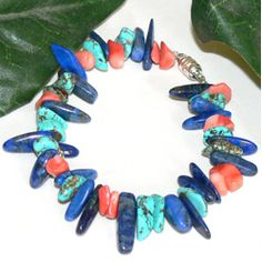 """""""Magic"""" by Susen Foster - This bracelet features turquoise nuggets, deep blue Lapis Lazuli branch beads and nuggets of salmon Coral. A dream come true"""