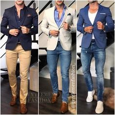 This chic men's outfit is for everyday business. You wear a blue denim shirt together with a fashionable Amaci&Sons jea. Blazer Outfits Men, Mens Fashion Blazer, Mens Fashion Wear, Stylish Mens Outfits, Suit Fashion, Terno Slim, Moda Formal, Formal Men Outfit, Indian Men Fashion