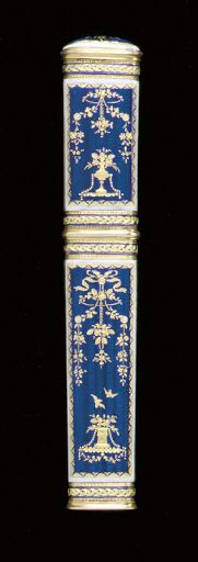 A SWISS ENAMELLED GOLD NEEDLE CASE  Mark of J. Georges Rémond, Geneva, circa 1785  The case of flattened oval section, the engine-turned reserves enameled in translucent blue enamel with gold paillons depicting garlands and vases, bordered by white enamel bands, with gold braided bands at intervals, marked twice on bezel