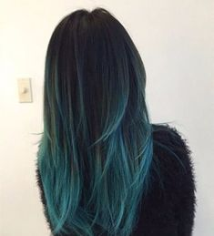 Black and Teal Hair hair ombre hairstyles ombre hair colored hair hair color hair ideas hair trends 2 toned teal hair - - ombre Haar Teal Hair Color, Hair Color Highlights, Hair Color For Black Hair, Blonde Color, Teal Ombre Hair, Color Black, Purple Hair, Black Hair With Blue Highlights, Dark Teal Hair