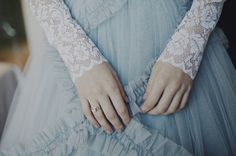 blue and lace wedding dress