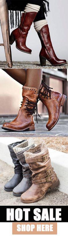 Women Vintage Trendy Waterproof Boots 555727808124