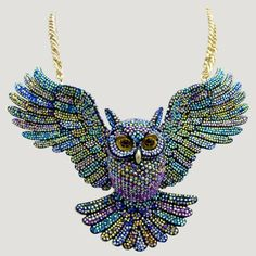 Large Crystal Open Wings Owl Necklace - Necklaces - Jewellery