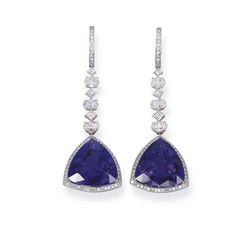 A PAIR OF TANZANITE AND DIAMOND EAR PENDANTS, BY MICHAEL YOUSSOUFIAN   The two triangular-shaped tanzanite weighing 29.42 carats total to the oval and square-shaped diamond line and hoop, mounted in 18k white gold, 5.6 cm long  Signed MY for Michael Youssoufian