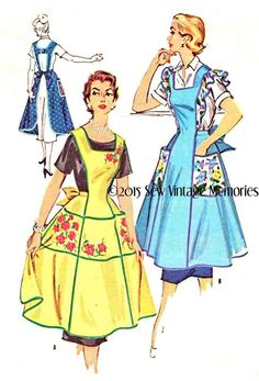 New Pellon Copy Vintage 1955 Apron Pattern Medium or Large H Strap Back #ReproductionMcCalls1994 #1955style