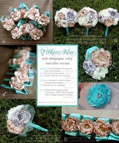 Tiffany Blue wedding. Silver, champagne and ivory accents. Fabric Bouquets.