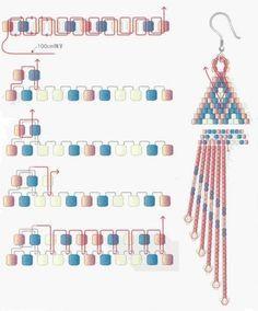beads jewelry tutorial~ Brick stitch earring thread pattern