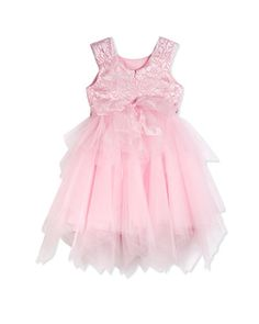 Z1EBE David Charles Lace & Tulle Party Dress, Pink, Size 2-10