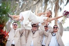 German tradition, groomsmen/friends kidnap bride, and take her to a bar, when the groom finally finds her he has to pay the bar tab :)