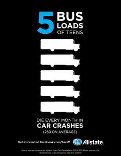 5 bus loads of teens die every month in car crashes! It's true unfortunately. Thanks to Allstate for making this informative graphic. Driving Teen, Driving Safety, Driving School, Car Insurance Tips, Insurance Quotes, Insurance Marketing, Driving Courses, Distracted Driving, Teen Driver