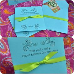 Personalized Lottery Ticket Holders / CD Holders - Vintage Flourish (11 Colors w/Ribbon)