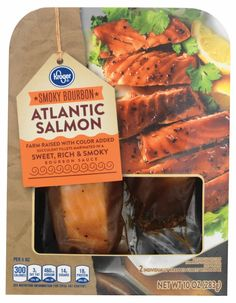 FRI X2 $6.99 Kroger - Kroger® Smoky Bourbon Atlantic Salmon, 10 oz Bourbon Glazed Salmon, Honeymoon Packing, Bourbon Sauce, King Soopers, Atlantic Salmon, Nutrition Information, Seafood, Beef, Dinner
