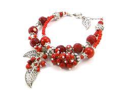 Red glass bracelet. Chunky bracelet.Charm bracelet.2 rows bracelet.Coral bracelet.Silver and red.Silver bracelet.Red jewelry.Red glass. by Jewelry2Heart on Etsy https://www.etsy.com/listing/219256193/red-glass-bracelet-chunky-braceletcharm