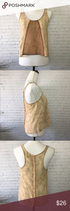"""🍀 Staring At Stars Urban Outfitters Tank Beautiful sleeveless top with mesh and gold details by Staring At Stars from Urban Outfitters. 100% polyester and mesh area is 100% nylon. Size XS. Approx 23"""" long and 18"""" across the chest when laying flat. Excellent condition. Urban Outfitters Tops Tank Tops"""