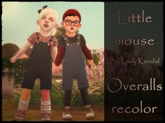 This time I made something for the little ones. I recolored these base game overalls. Toddler Girl Style, Toddler Girl Outfits, Toddler Fashion, Kids Outfits, Toddler Girls, Girl Fashion, Sims 4 Toddler Clothes, Sims 4 Cc Kids Clothing, Sims Four