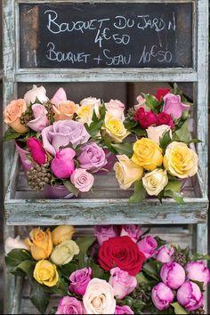 Paris Photograph  Roses in Paris Flower Shop