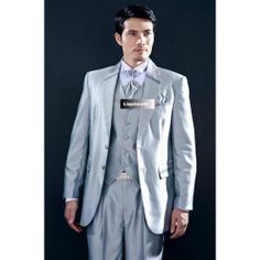 Mens Silver Gray Grey Two Button Classic Prom Wedding Dress Suits SKU-123365