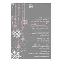 102 best winter baby shower ideas images on pinterest in 2018 pink baby shower invitation winter snowflakes filmwisefo