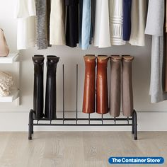 Store and protect your favorite boots with this sturdy, space-saving rack. Super-strong steel construction holds up to four pairs, keeping boots vertical for improved aeration and shape retention. This storage rack is sized to fit neatly in a closet. Use on its own or, for more versatility, stack with the Graphite 4-Tier Expandable Shoe Rack (sold separately).