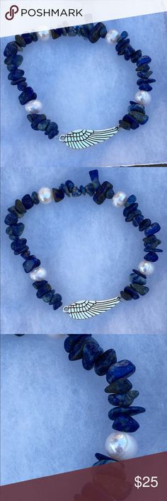 "Lapis Lazuli Freshwater Pearl Angel Wing Bracelet This beautiful bracelet is made with reconstituted lapis lazuli and natural freshwater pearls. It features a silver tone angel wing connector. This piece is on elastic and will stretch to fit up to an 8"" wrist.   All PeaceFrog jewelry items are handmade by me! Take a look through my boutique for coordinating jewelry and more unique creations. PeaceFrog Jewelry Bracelets"