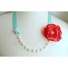 Pearl Crystal Ribbon Necklace - Coral Red Turquoise - Bridal... ($35) ❤ liked on Polyvore