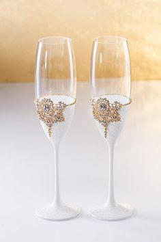 White Gold Wedding Glasses White Gold Cake Server Set Wedding