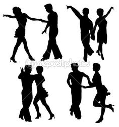 Vector silhouettes dancing man and woman — Stockvectorbeeld #3862044