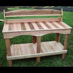 Garden work bench ideas build a potting bench sturdy pallet potting bench build a cedar build . Pallet Potting Bench, Potting Tables, Reclaimed Wood Projects, Pallet Wood, Pallet Ideas, Planter Table, Table Bench, Vintage Inspiriert, Pallet Crafts