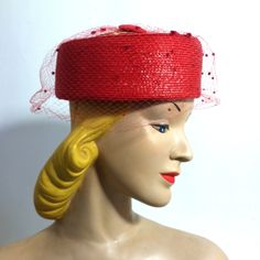f8d509874c2 Peppermint Patty Topped Pillbow Hat w  Dotted Veil circa 1960s. Pillbox HatVeilRoyal  BlueFurPeppermint PattiesVintage ...