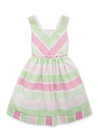 Rare Editions Stripe Linen Burnout Dress Girls 4-6x