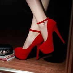 4a528c028acd Sexy Charmed Ankle Strap Red High Heel Shoes Red High Heel Shoes
