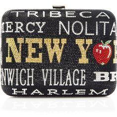 New York, New York Slim Rectangle Clutch Bag, Jet Multi