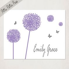 Girl's Baby shower gift, Dandelions and Butterflies in purple and grey, Personalized Custom Name Art, Nursery Wall Art, 8x10