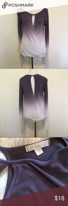 Listing! Purple Ombré Keyhole Wrap Top Love this top!! Super cute purple Ombré Keyhole (front and back) faux wrap top. Super stretchy and comfy. One small pick shown. Size M. TTS. Can't read material tag. ❌NO TRADES ❌NO LOWBALLING❌ Summer G Tops