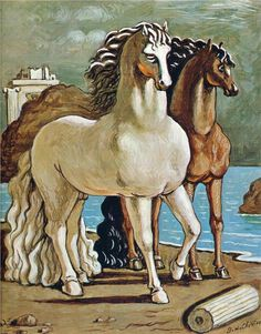 """art-centric: """" Two Horses by a Lake Giorgio de Chirico, 1950 """" Rene Magritte, Painting Gallery, Traditional Paintings, Italian Artist, Equine Art, Salvador Dali, Renoir, Horse Art, Surreal Art"""