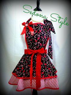 Candy Cane Christmas Womens Flirty Hostess Apron by SedonaStyle, $38.00