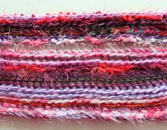 Close-up of crochet scarf