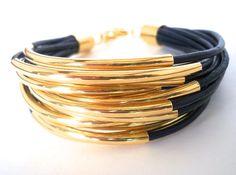 Navy Blue Leather Cuff Bracelet with Gold Tube Beads - Multi Strand Bangle, via Etsy.