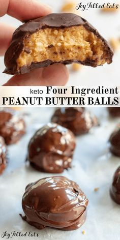 Peanut Butter Balls - Low Carb Keto Sugar-Free Grain-Free Gluten-Free THM S. With just 4 ingredients these are perfect for your chocolate peanut butter craving! Low Carb Peanut Butter, Peanut Butter Balls, Chocolate Peanut Butter, Sugar Free Peanut Butter Cookies, Chocolate Oatmeal, Low Carb Chocolate, Sugar Free Chocolate, Chocolate Bars, Chocolate Chips