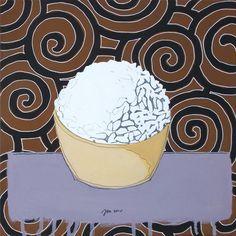 """andrea mattiello """"Rice"""" acrilico e grafite su tela cm 30x30; 2015 #andreamattiello #rice #artistaemergente #emergingartist #artecontemporanea #contemporaryart #food #expo2015milano"""