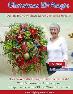 Christmas Elf Magic DVD, Instructional How-to Video, Learn to Make a Christmas Wreath, Make Your Own Beautiful Christmas Wreaths Large Christmas Wreath, Christmas Bows, Holiday Wreaths, Xmas Tree, Christmas Decor, Christmas 2019, Christmas Trees, Green Wreath, Floral Wreath