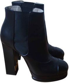 89ac2525808de Chanel Leather ankle boots Chanel Boots