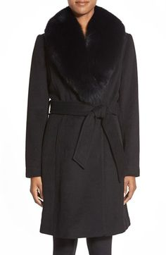 1 Madison Wool Blend Wrap Coat with Detachable Genuine Fox Fur available at #Nordstrom