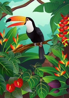 Illustration of toucan bird vector art, clip art and stock vectors. - Illustration of toucan bird vector art, clip art and stock vectors. Art Tropical, Tropical Birds, Tropical Paintings, Vogel Illustration, Jungle Art, Silk Painting, Bird Art, Vector Art, Art Clipart
