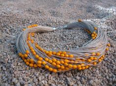Tangerine Wood Laquered Beads Necklace Linen Natural  Eco-Friendly Handmade Mediterranean Style